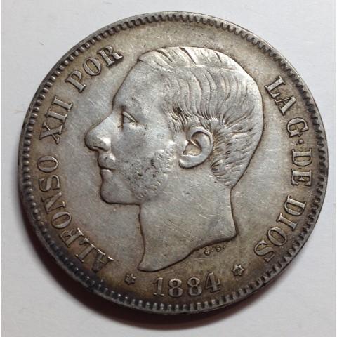 5 PESETAS ALFONSO XII 1884 84*