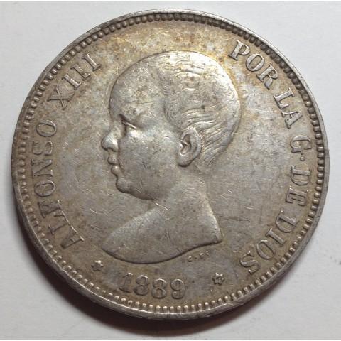 5 PESETAS ALFONSO XIII 1889 89*