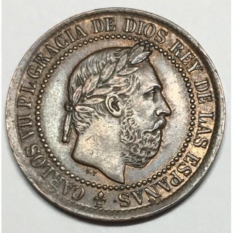 5 CÉNTIMOS DE PESETA CARLOS VII 1875 BÉLGICA