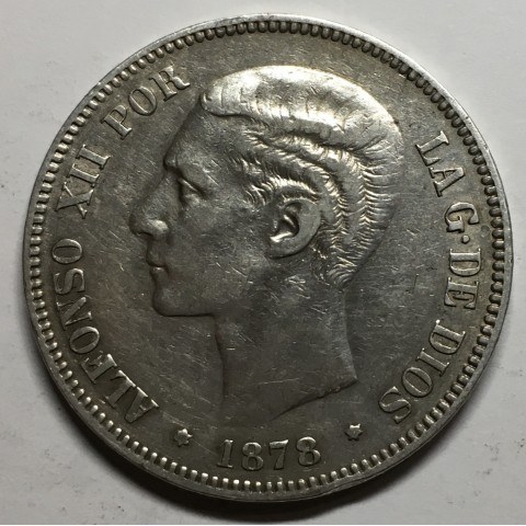 5 PESETAS ALFONSO XII 1878 78* DEM