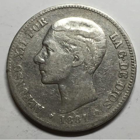 5 PESETAS ALFONSO XII 1881 81*