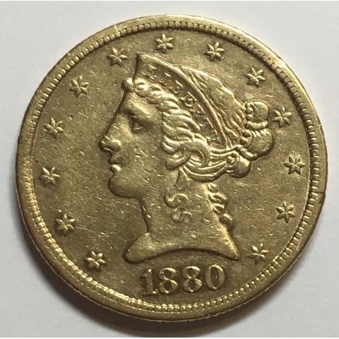 5 DOLARES USA 1880