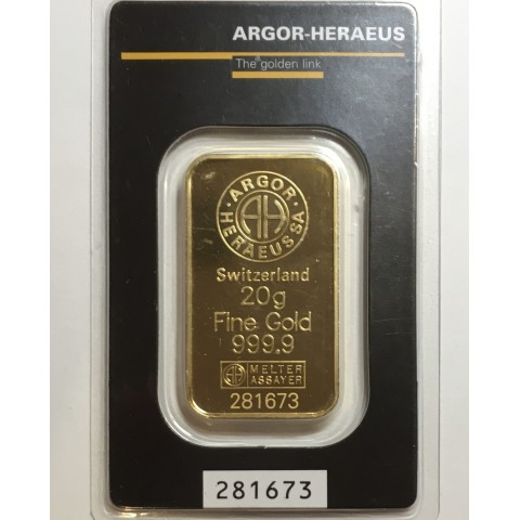 LINGOTE 20 GR ORO 999,9 ARGOR-HERAEUS