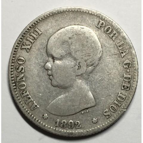 2 PESETAS ALFONSO XIII 1892 92*