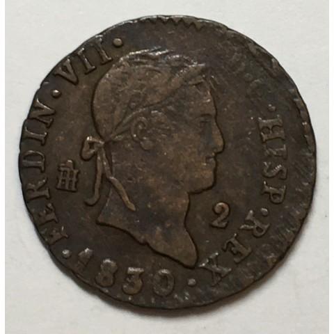 2 MARAVEDIS FERNANDO VII 1830 SEGOVIA