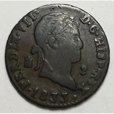 2 MARAVEDIS FERNANDO VII 1833 SEGOVIA