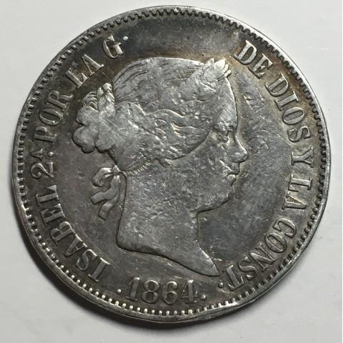 10 REALES ISABEL II 1864 MADRID