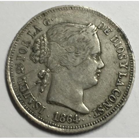 40 Ctms de ESCUDO ISABEL II 1864 MADRID