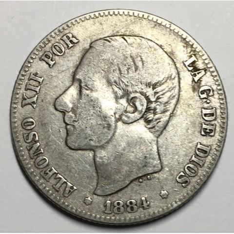 2 PESETAS ALFONSO XII 1884 84*