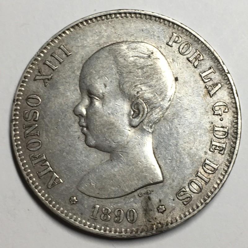 5 PESETAS ALFONSO XIII 1890 90*