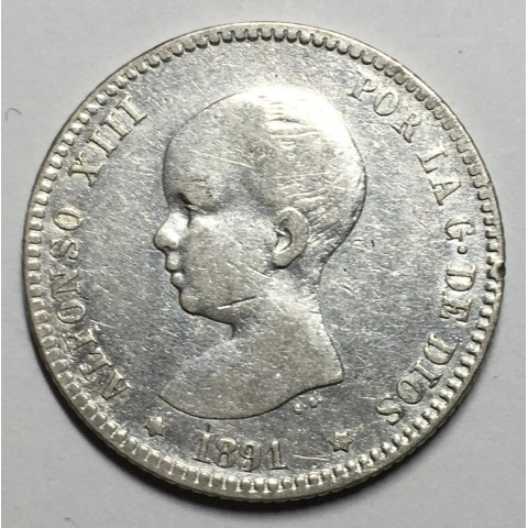 1 PESETA ALFONSO XIII 1891 91*