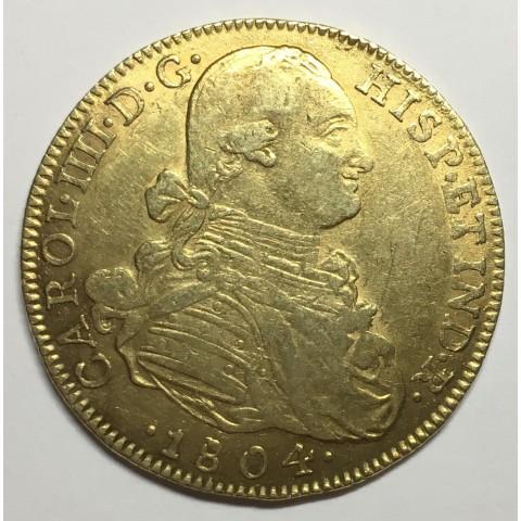 8 ESCUDOS CARLOS IV 1798 NUEVO REINO