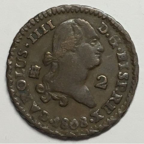 2 MARAVEDIS CARLOS IV 1808 SEGOVIA