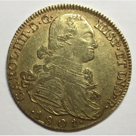 8 ESCUDOS CARLOS IV 1801 NUEVO REINO