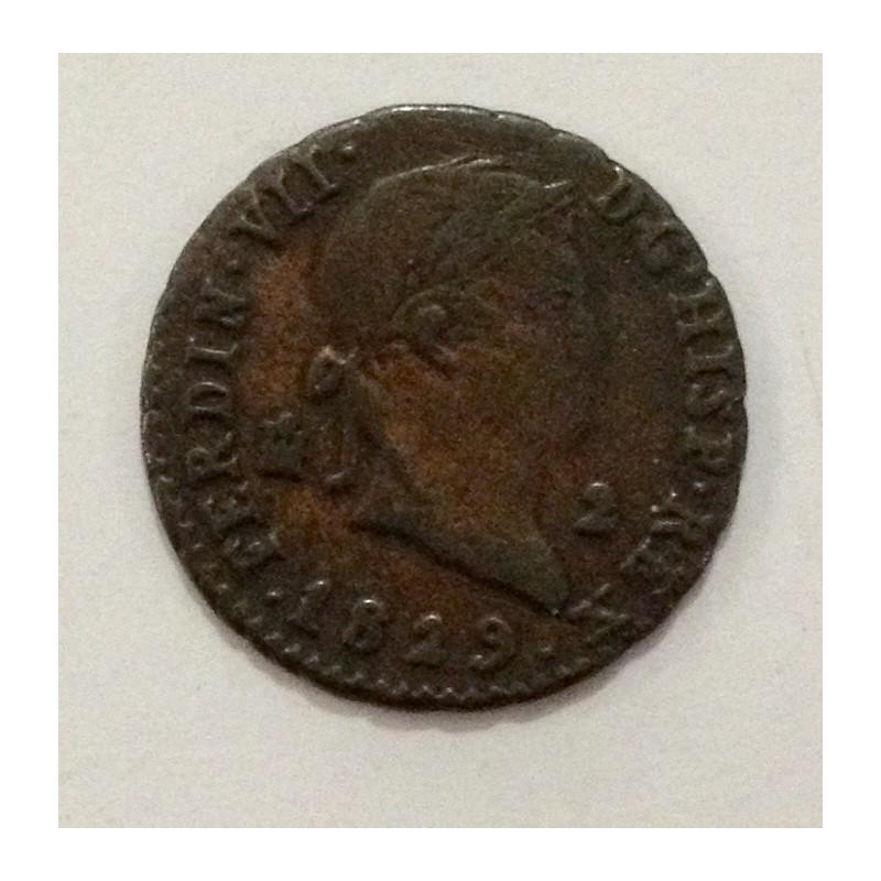 2 Maravedís Fernando VII 1829. Segovia