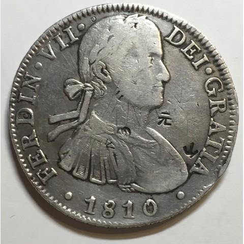 8 REALES FERNANDO VII 1810 MEJICO  (resellos chinos)