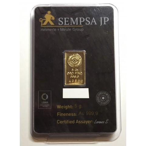 Lingote de oro 5 gramos 9999 Marca SEMPSA