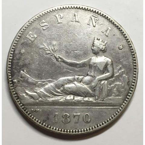 5 PESETAS GOBIERNO PROVISIONAL  1870 *70 SNM