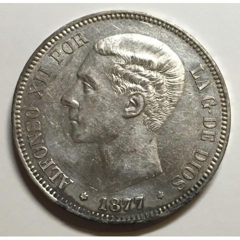 5 PESETAS ALFONSO XII 1877 77* DEM
