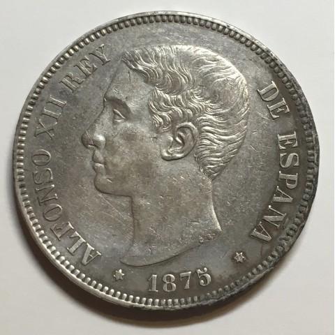 5 PESETAS ALFONSO XII 1875 75* DEM
