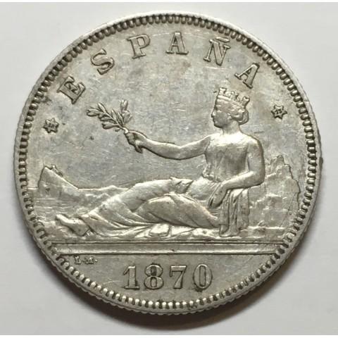 2 PESETAS GOBIERNO PROVISIONAL  1870 73*