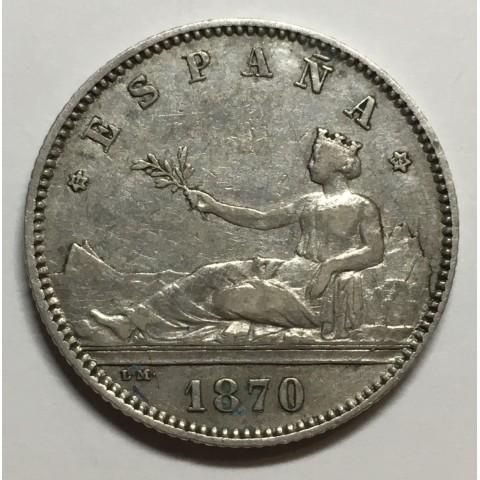 1 PESETA GOBIERNO PROVISIONAL 1870 73*