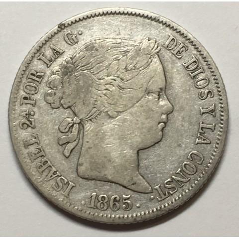 40 Ctms de ESCUDO ISABEL II 1865 SEVILLA
