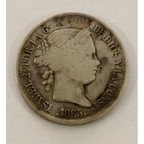 40 Céntimos de Escudo Isabel II 1865. Madrid