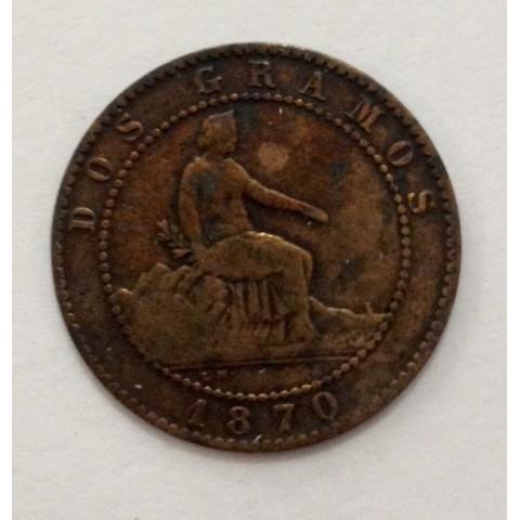 2 Céntimos Gobierno Provisional 1870