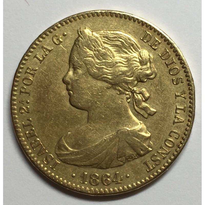 100 REALES ISABEL II 1864 MADRID