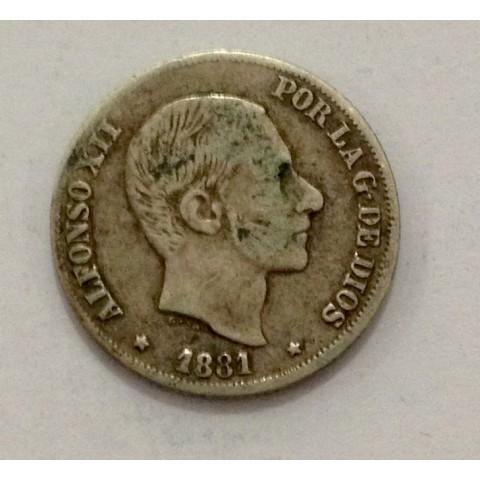 10 Centavos de Peso Alfonso XII 1881