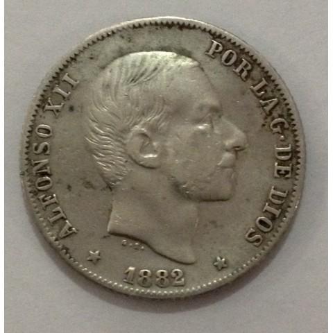 20 Centavos de Peso Alfonso XII 1882. Manila