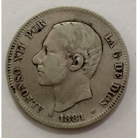 2 Pesetas Alfonso XII 1881*81