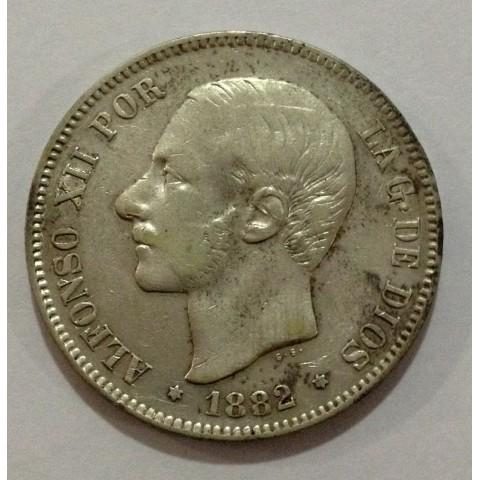 5 Pesetas Alfonso XII 1882*81. Variante