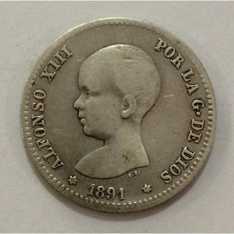 1 Peseta Alfonso XIII 1891*91