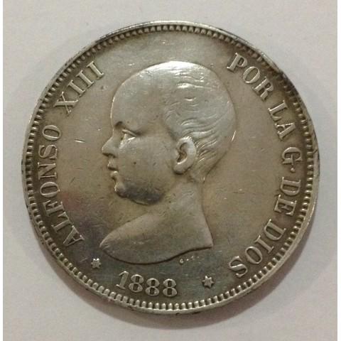 5 Pesetas Alfonso XIII 1888*88 MPM
