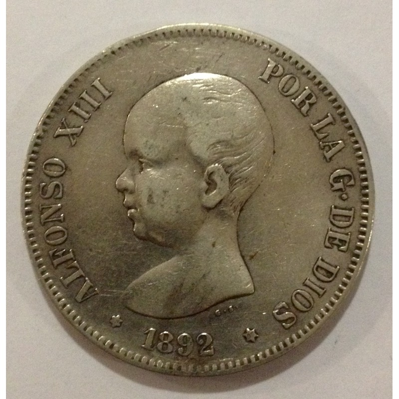5 Pesetas Alfonso XIII 1892*92