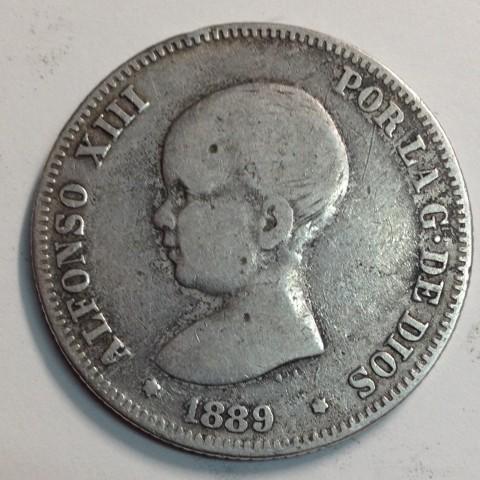 2 PESETAS ALFONSO XIII 1889 MPM (rara)
