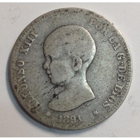 2 PESETAS ALFONSO XIII 1891 PGM (rara)