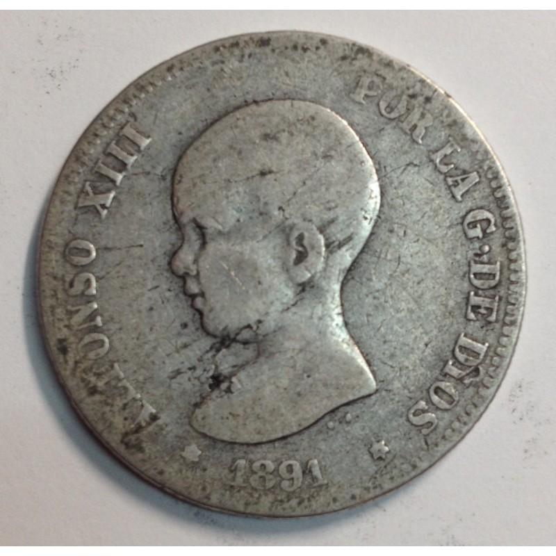 2 PESETAS ALFONSO XIII 1891 PGM